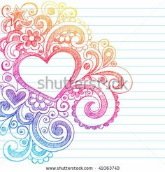 Hand-Drawn Abstract Heart Sketchy Doodles on Lined Notebook Paper Background- Vector Illustration by blue67design, via ShutterStock