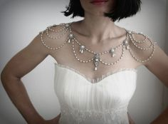 Bridal Necklace for the shoulders Pearl and rhinestone Jewellry Bridal Epaulettes VIntage Wedding Gothic necklace Gothic Jewelry OOAK Shoulder Jewelry, Shoulder Necklace, Bridal Necklace, Wedding Jewelry, Necklace Chain, Pearl Necklace, White Strapless Dress, Back Jewelry, Glass Jewelry