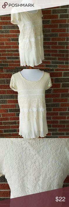 Meadow Rue by Anthropologie Long Lace Tunic Size small. Meadow Rue by Anthropologie. Long tunic. Top portion is a lightweight fabric covered with sheer floral lace. And the bottom is a sheer panel. Pairs great with leggings. Anthropologie Tops Tunics