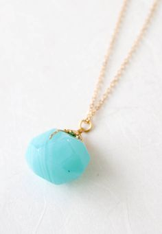 Blue Sea Stone Necklace. Obsessed with aqua necklaces