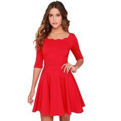 Tengo Frauen Dünne Ausgestelltes Tunika Well Ausschnitt Roten Kleid Frauen Marke Reizvolle Beiläufige Party Kleider für frauen Neue Jahr