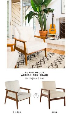 Burke Decor Adrian Arm Chair for $1,258 vs Target Windson Wood Arm chair for $184 @copycatchic look for less budget home decor and design chic find http://www.copycatchic.com/2016/10/burke-decor-adrian-arm-chair.html?utm_campaign=coschedule&utm_source=pinterest&utm_medium=Copy%20Cat%20Chic&utm_content=Burke%20Decor%20Adrian%20Arm%20Chair