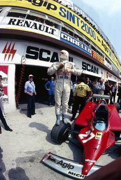 Gilles Villeneuve (Scuderia Ferrari SpA SEFAC) at the 1980 Italian Grand Prix at Imola F1 Racing, Drag Racing, Formula 1, Italian Grand Prix, Ferrari F1, Ferrari Racing, Gilles Villeneuve, Vintage Race Car, F 1