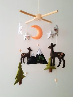 Woodland Baby Mobile Forest Crib Mobile Mobile Mountain Silver Stars  ♥ This charming mobile phone is invented in the forest theme, it harmoniously combines deer, forest trees, mountain, moon and stars. He will equally look good in the childrens room of a girl or a boy and will be an