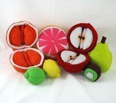 FUN FRUIT - PDF Felt Food Pattern (Apple and Orange Slices and Peels, Lemon, Lime, Kiwi, Grapefruit, Pear). $6.00, via Etsy.
