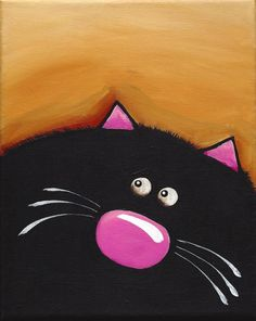 Original acrylic painting canvas whimsical pet animal Fat Black Cat (2) #WhimsicalCatPainting