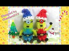 Diy loom bands Christmas / Holiday ornament rainbow loom tutorial彩虹橡筋編織聖誕裝飾教學. Minion christmas theme figure