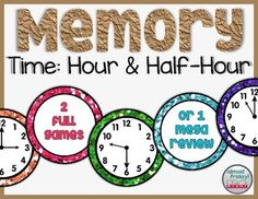 Included in this Memory (Concentration) set are 2 complete games: time to the hour and time to the half-hour. Each game includes all 12 hours in color-coded analog clocks that match their answer cards. Make it a mega-memory game by putting out both sets!How to get TPT credit to use on future purchases: Please go to your My Purchases page.