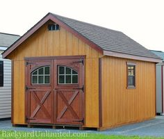 10'x18' Garden Shed with Rustic Cedar and Mahogany Stain, Carriage House Doors…