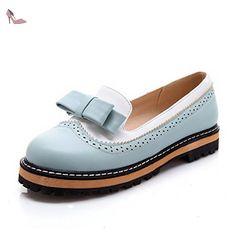 VogueZone009 Femme Matière Souple Rond à Talon Bas Tire Couleurs Mélangées Chaussures Légeres, Bleu, 32 - Chaussures voguezone009 (*Partner-Link)