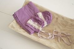 Plum Stretch Wrap, Optional Bonnet, Newborn Photography Prop