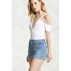 Forever21 Distressed Denim Mini Skirt ($7) ❤ liked on Polyvore featuring skirts, mini skirts, light blue, forever 21 mini skirt, zipper skirt, forever 21 skirts, white skirt and ripped skirt