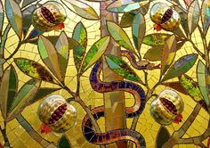 Glass mosaic by Róth Miksa - The Tree of Knowledge. Detail. Glass mosaic with eosin (on pomegranates), Hungary