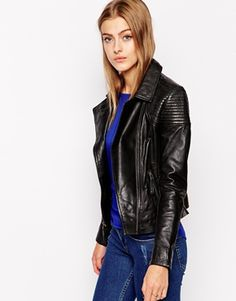 Barneys Leather Biker Jacket with Shoulder Detail