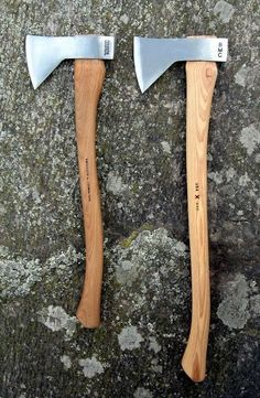 "Council Tool Velvicut Hudson Bay Axe (left) and rebranded Best Made Axe (right) with longer unfinished grade ""A"" hickory handle.."