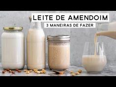 LEITE DE AMENDOIM - 3 MANEIRAS DIFERENTES DE FAZER EM CASA | PLANTTE - YouTube Glass Of Milk, Vegetarian Recipes, Beverages, Low Carb, Diet Recipes, Easy Healthy Recipes, Vegan Milk, Peanuts, Vegan Vegetarian