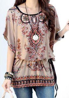 Love these Colors! Boho Chic Elegant Scoop Neck Dolman Sleeve Ethnic Print T-Shirt Bohemian Tops, Bohemian Style, Ethnic Style, Ethnic Design, Bohemian Summer, Boho Top, Gypsy Style, Chiffon Floral, Sheer Chiffon
