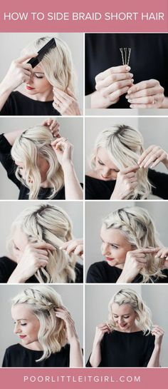 How To Side Braid Short Hair - Hair Tutorial - Braid - Arms .- How To Side Braid Short Hair – Hair Tutorial – Braid – Poor Little Girl – Hairstyles - Braids For Short Hair, Easy Hairstyles For Long Hair, Fancy Hairstyles, Short Hair Cuts, Quick Braids, Style Hairstyle, Side Braids, Braid Hairstyles, Wedding Hairstyles