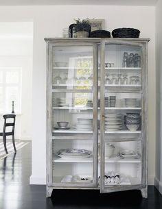 gray + glass armoire