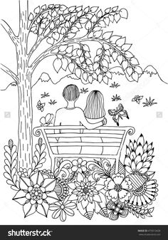 Vector Illustration Zen Tangle In Love Couple On A Bench Under Tree Bloom Coloring Book Anti Stress For Adults