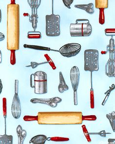 Love The Colors And The Old Utensils Are Cute  Potholders, Maybe?