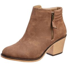 Saunter Ankle Boots Brown Target Australia ($34) ❤ liked on Polyvore featuring shoes, boots, ankle booties, ankle boots, booties, zapatos, high heel ankle boots, brown high heel boots, suede boots and suede booties