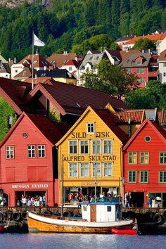 Travel Inspiration for Norway - Bryggen, a UNESCO World Heritage in Bergen, Norway.