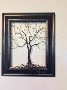 Wire Tree Sculpture brown frame Original Art signed by artist 16 x 19