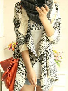 Vintage Styled Wave Geometric Kimono Cardigan with Long Sleeves in Beige #vintage #style #cardigan #fashion