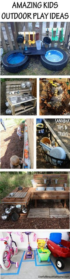 KIDS OUTDOOR PLAY IDEAS-  so many good ideas for DuHop Station!