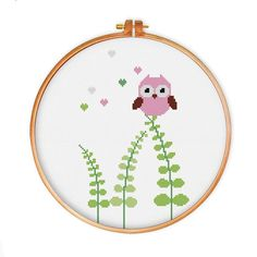 Bird on Grass cross stitch pattern modern cross by ThuHaDesign