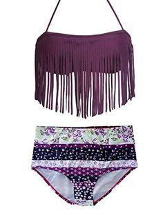 f4d1d498b0 HOTAPEI Women Halter Tassel Floral Printed 2pcs Bikini Swimsuit(S M L
