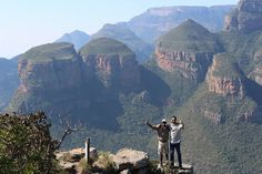 "Spectacular view at Blyde River Canyon. Our guide Johannes and a guest saying ""Hi"""