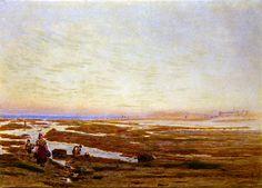 Marée basse sur la côte sud, près de Brighton de Albert Goodwin (1845-1932, United Kingdom) Reproduction, Brighton, Landscapes, Painting, Bass, Paisajes, Scenery, Painting Art, Paintings