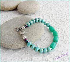 Bracelet gemstone /green Agate dragonfly charm ceramic Agate Verte, Green Agate, Bracelets, Turquoise Bracelet, Charmed, Ceramics, Gemstones, Etsy, Jewelry