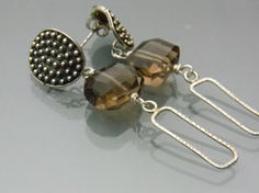 Smokey Quartz and Sterling Silver Dangle Earrings by isajul