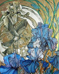 Просмотреть иллюстрацию Голубые ирисы из сообщества русскоязычных художников автора Irina Setyavina (AIRIS) в стилях: Декоративный, нарисованная техниками: Смешанная техника.