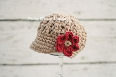 Jute Baby Girls Hats with Flower Crochet by PBlossomBoutique, $30.00