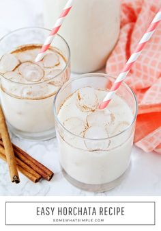 Here is a quick and easy horchata recipe that will show you how to make horchata in no time! Made from the delicious combination of milk, cinnamon and rice, this traditional Mexican drink is both creamy and refreshing. Horchata Mexican Drink Recipe, How To Make Horchata, Drink Recipes Nonalcoholic, Easy Drink Recipes, Fruity Drinks, Fruit Smoothie Recipes, Yummy Drinks, Fun Drinks, Aguas Frescas