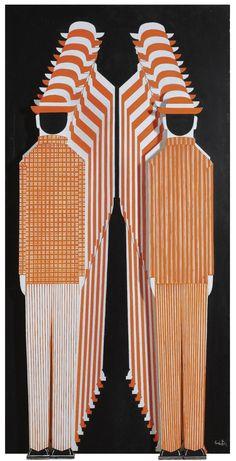 "arsvitaest: ""Yiannis Gaitis (Greek, Orange and White Men on Black Background, oil and wood on canvas "" Artist Painting, Artist Art, Greek Paintings, Illustration Story, Illustrations, Great Works Of Art, Greek Art, Video Artist, Conceptual Art"