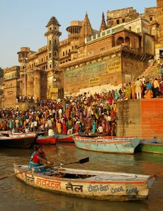 Devotees on the ghats, Varanasi