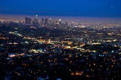 LA the City of Lights Los Angeles Skyline, Vintage Borders, City Lights, Airplane View
