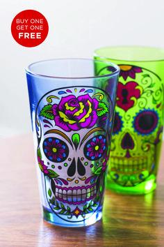 Sugar Skull Assorted Pint Glasses