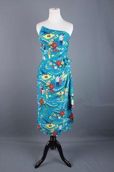 1950s Vtg Surfriders Hawaiian Dress - International Harvester Print #1084 50s IH #SurfridersSportswear #Hawaiian #Cocktail