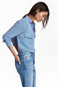 Camisa de viscosa - Azul/Rayas blancas - MUJER | H&M ES 1