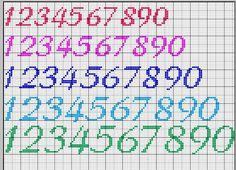 numeri punto croce corsivo - Cerca con Google