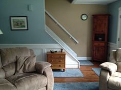 "Living room. New furniture coming soon. ""Stitches"", area rug and runner. The flooring is Allure vinyl planking."