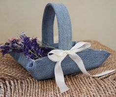 Upcycled denim here for this wee basket.