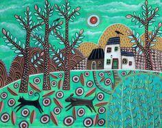 The Chase ORIGINAL CANVAS PAINTING 16x20 inch FOLK ART cat birds dog Karla G #FolkArtAbstractPrimitive