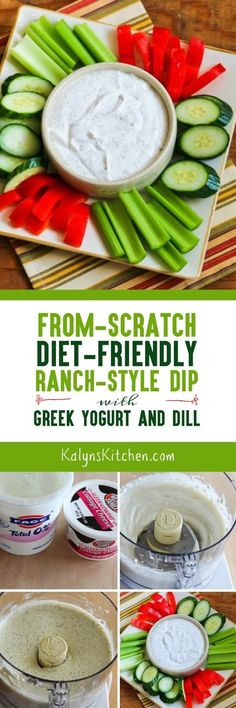 From-Scratch Diet-Friendly Ranch Style Dip with Dill is high protein and gluten-free, and it can be low-carb, Keto, low-glycemic, or South Beach Diet friendly, depending on your choice of dairy products. And it's delicious! [found on KalynsKitchen.com] #FromScratchRanchDip #DietFriendlyRanchDip #FromScratchDietFriendlyRanchDip